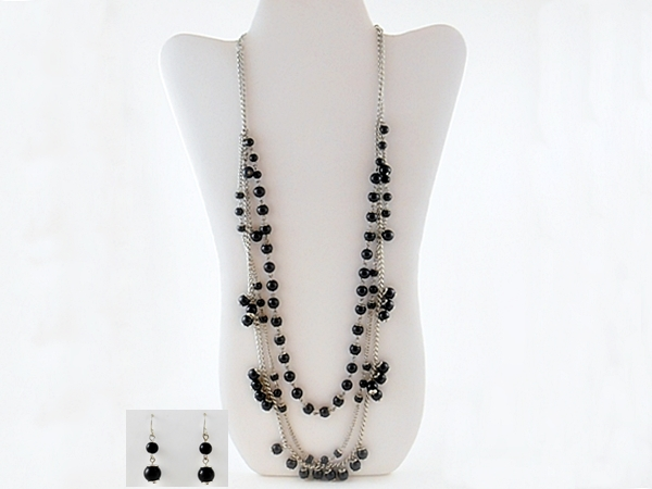 Black Bead Triple Strand Silver Chain Necklace and Matching Dangle Earrings
