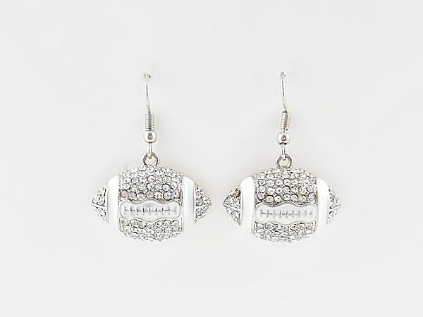 Silver & Rhinestone Football Dangle Hook Earrings from iblingu.com