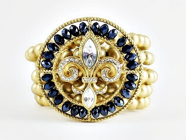 Gold & Navy Fleur de Lis Stretch Bracelet