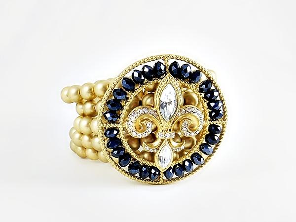 '.Navy Fleur de Lis Bracelet.'