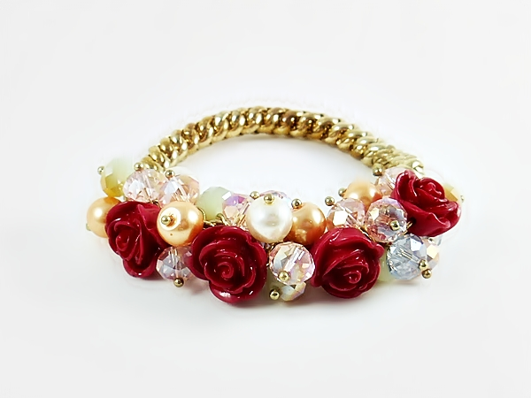 Red Rose Crystal & Pearl Flower Cluster Gold Stretch Bracelet from iblingu.com