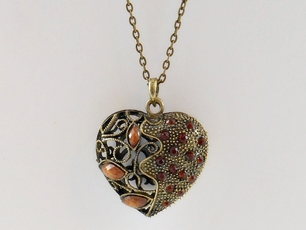 Brown and Gold Antiqued Filigree Heart Pendant Necklace