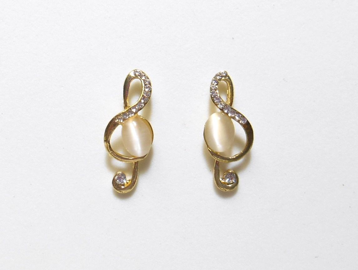 Gold & White Treble Clef Music Stud Earrings