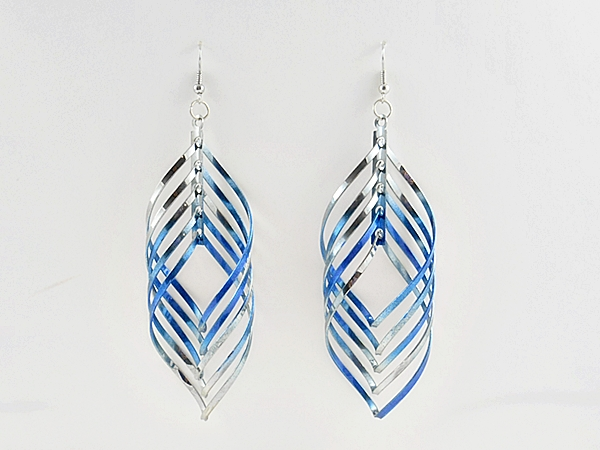 Blue and Silver Spinning Spiral Dangle Earrings