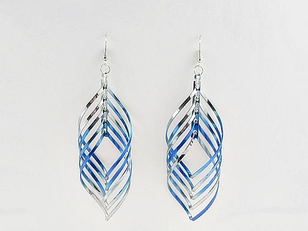 '.Blue Spiral Dangle Earrings.'