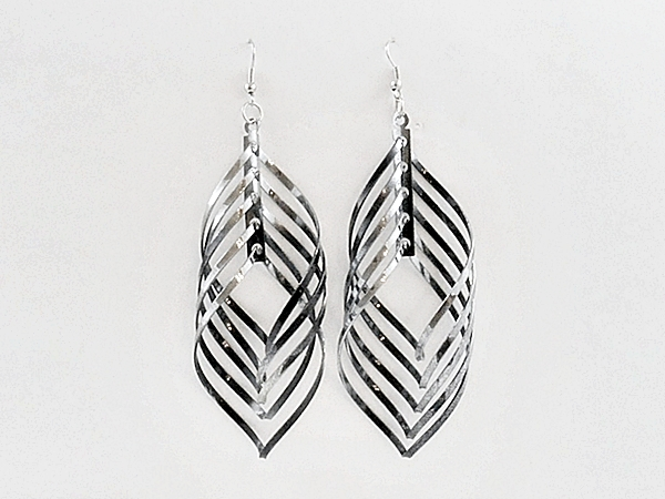 Black and Silver Spinning Spiral Dangle Earrings