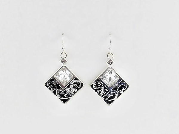 '.Black and Silver Drop Earrings.'