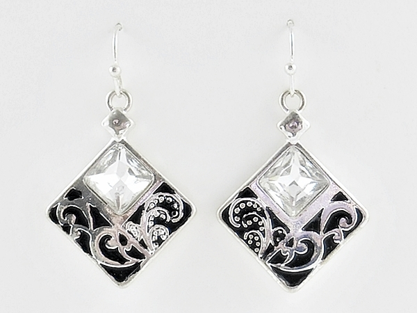Black and Antiqued Silver Diamond Shaped Drop Earrings