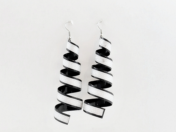 Black and Silver Sparkle Spiral Dangle Earrings