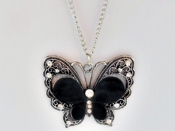 Black and Silver Butterfly Necklace