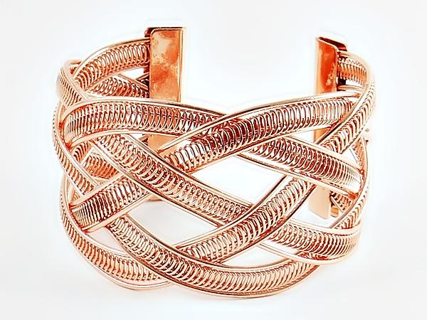 Copper Braided Metal Cuff Bracelet