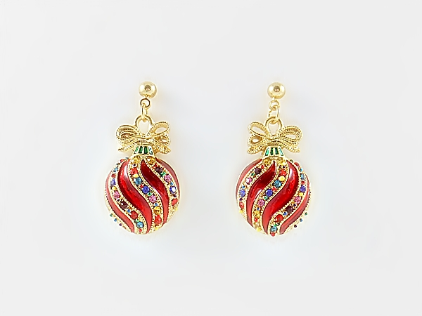 Christmas Ornament Holiday Dangle Earrings Red Gold