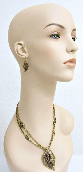 Gold Leaf Pendant Accented with Burgundy and Rhinestones with matching hook style earrings