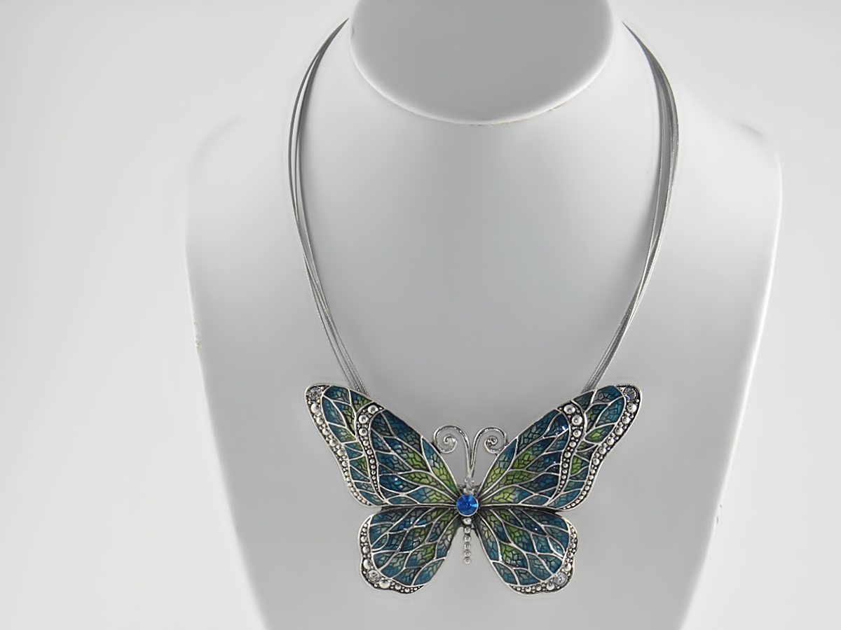 Blue And Green Butterfly Silver Pendant Necklace And Butterfly Earrings
