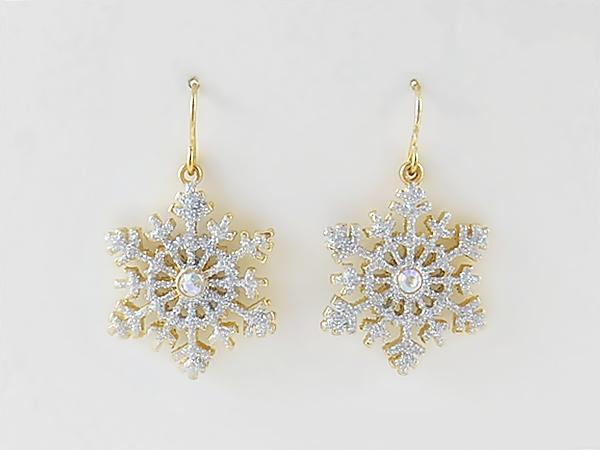 Christmas Snowflake Dangle Earrings Gold Silver Glitter