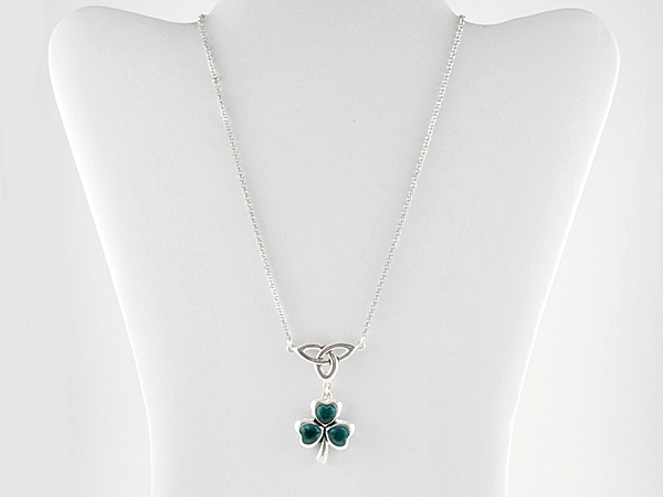 Teal Green Clover and Celtic Knot Pendant Silver Necklace with Matching Clover Dangle Hook Earrings