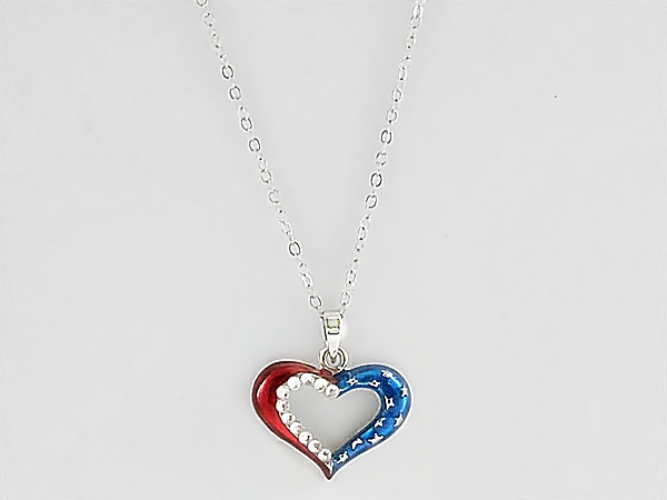 Patriotic Heart Pendant Necklace in Silver, Red, White, and Blue with Rhinestone Accents