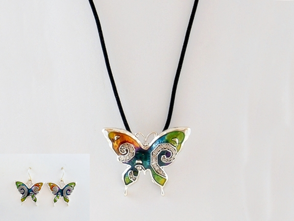 Butterfly Multi Color Silver Pendant and Earrings