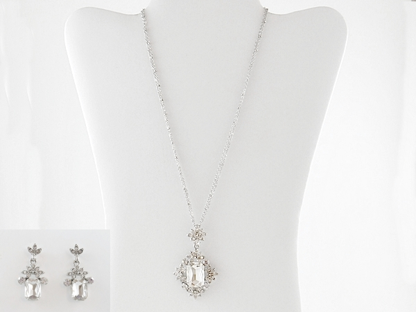 Rhinestone Formal Pendant Necklace and Earrings