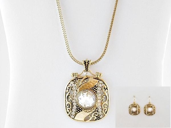 Gold Filigree and Rhinestone Pendant and Earrings