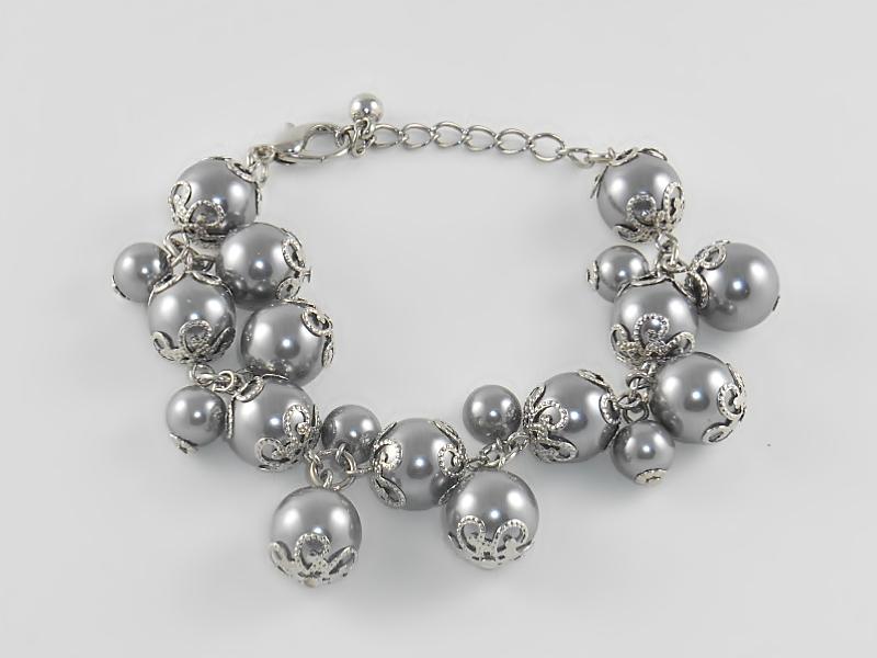 Gray Pearl Silver Cluster Bracelet