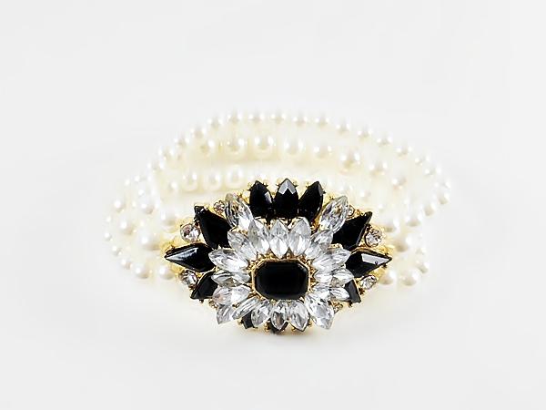 '.Black Gem Star Pearl Bracelet.'