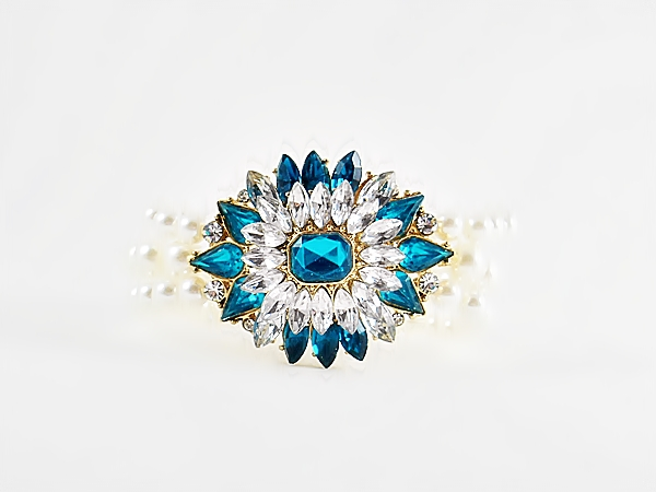 '.Teal Blue Star Pearl Bracelet.'