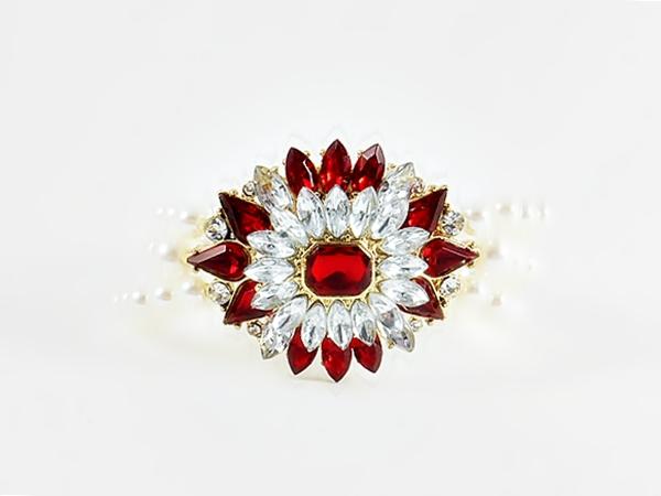 '.Red Gem Star Pearl Bracelet.'