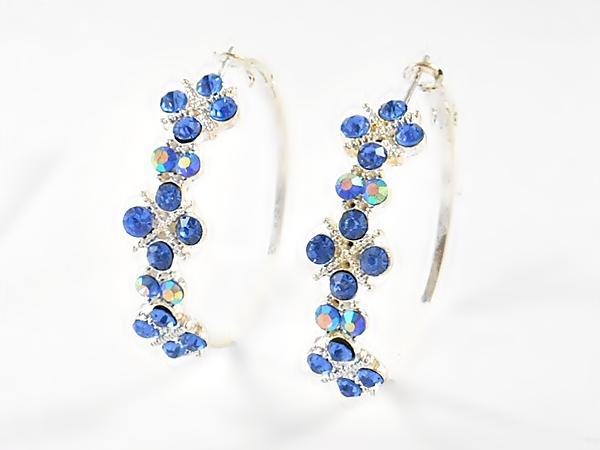 Blue and Silver Iridescent Rhinestone Hoop Earrings