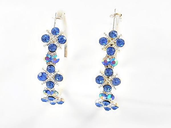 '.Blue and Silver Hoop Earrings.'