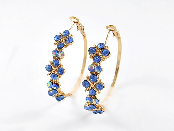 Blue and Gold Iridescent Rhinestone Hoop Earrings