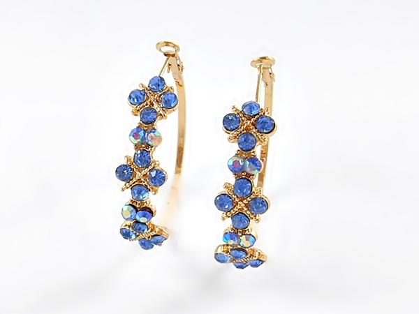 '.Blue Rhinestone Hoop Earrings.'