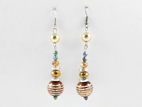Brown Beaded Dangle Silver Earrings