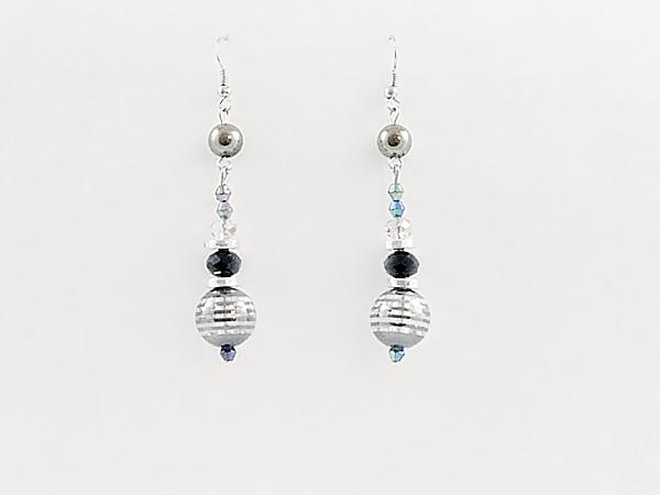 '.Black Beaded Dangle Earrings.'