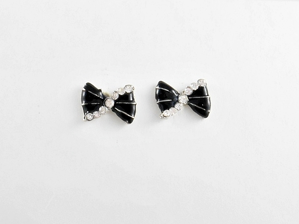 Black Bow Post Earrings with Rhinestone Accents