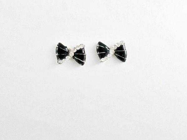 '.Black Bow Post Earrings.'