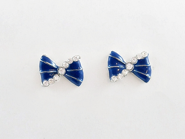 Blue Bow Post Earrings with Rhinestone Accents