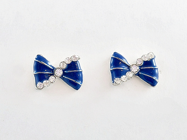 '.Blue Bow Rhinestone Earrings.'