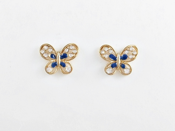 Butterfly Earrings Blue and Gold Post Earrings Rhinestone Accents