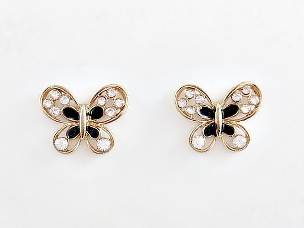 Butterfly Earrings Gold and Black with Rhinestone Accents