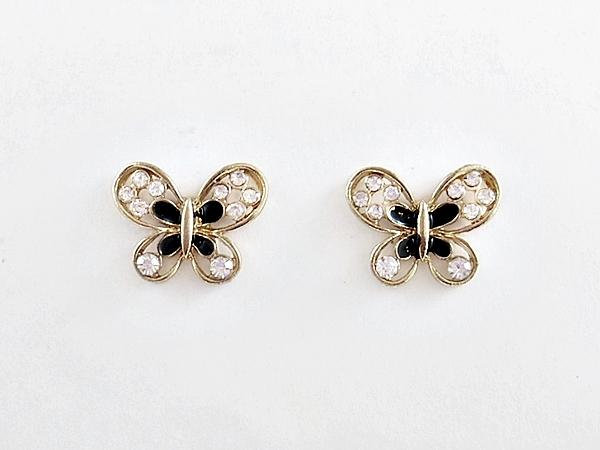 '.Butterfly Earrings Black Gold.'