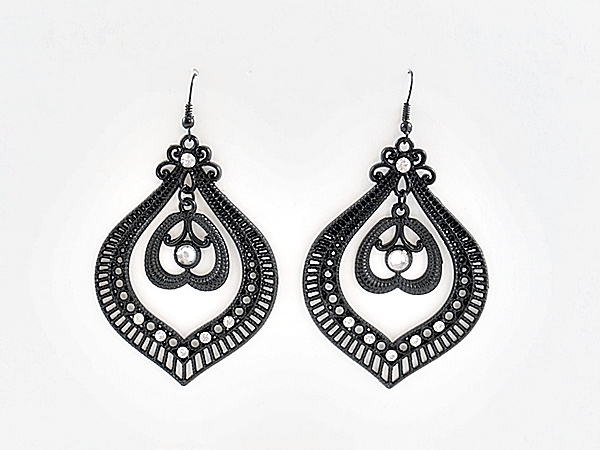 Black Filigree Chandelier Earrings with Rhinestone Accents