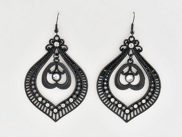 '.Black Chandelier Earrings.'