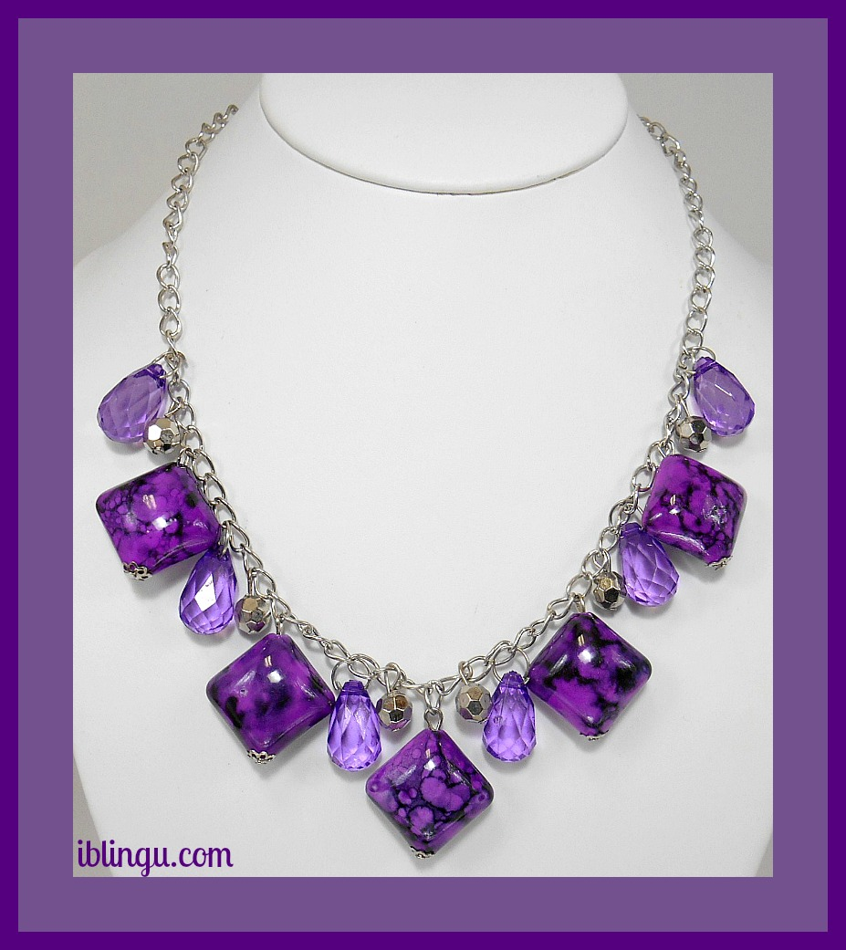 Image 2 of Purple Marbled Square Stone Necklace