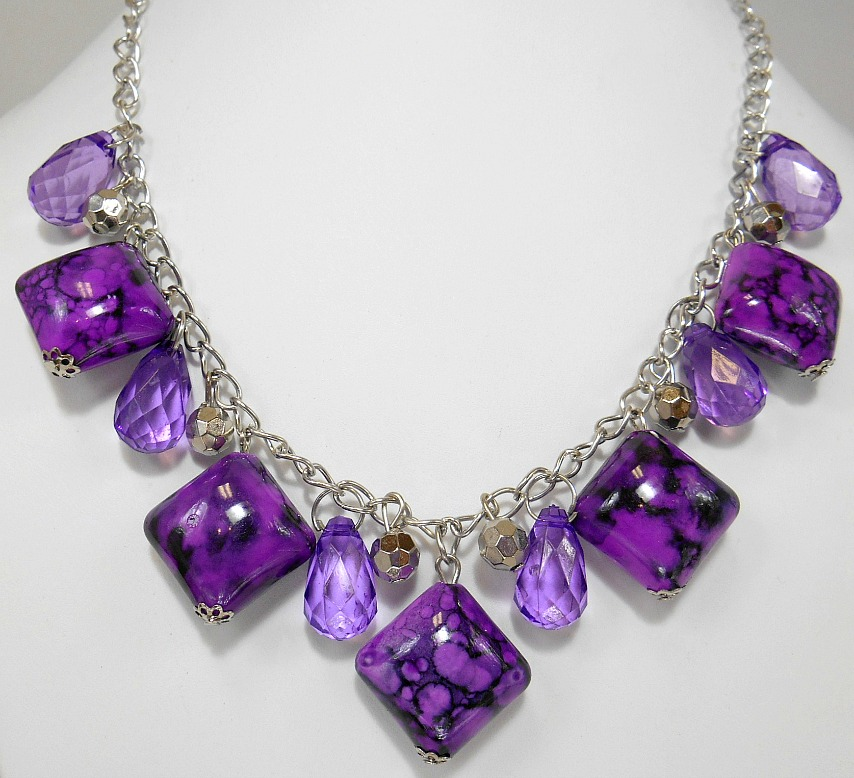 Image 3 of Purple Marbled Square Stone Necklace