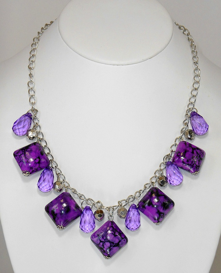 Image 1 of Purple Marbled Square Stone Necklace