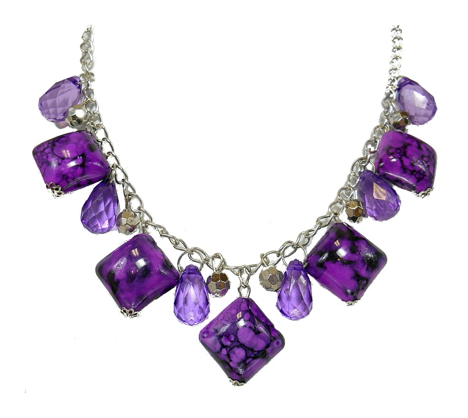 Image 0 of Purple Marbled Square Stone Necklace
