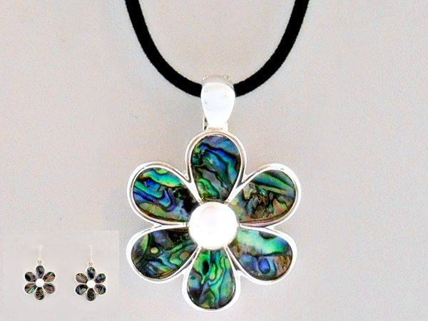 Abalone Blue Shell Silver Flower Pendant Necklace and Earrings Silver