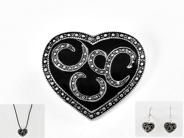 Black and Silver Heart Pendant Brooch Pin and Matching Earrings
