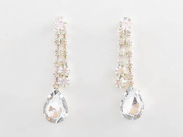 Rhinestone Teardrop Bib Necklace Set with Matching Rhinestone Post Earrings.